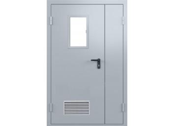 Техническая дверь металлическая двупольная ассиметричная остекленная одна створка, с вентиляционной решеткой. размер 1260х2060 мм.