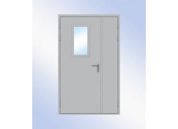 Техническая дверь металлическая двупольная остекленная одна створка, размер 1260х2060