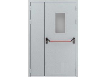 Противопожарная дверь Ei-60 двупольная со штангой Push Bar остекленная одна створка, размер 1260х2060 мм