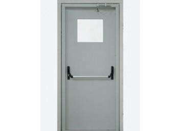 Противопожарная дверь Ei-60 со штангой Push Bar остекленная, размер 860х2060 мм